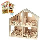 matches21 3D Puppenhaus & Möbel Holz Bausatz 40x37 cm Kinder Bastelset Werkset - Steckbausatz &...