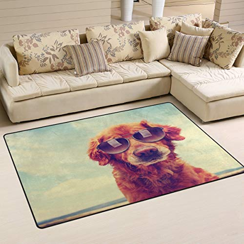 Hipster Golden Retriever - Alfombra antideslizante para perro con gafas de sol, 152,4 x 99 cm