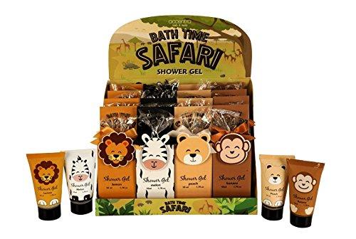 Duschgel BATH TIME SAFARI in Tube, in TiermotivGeschenkverpackung, 50ml, 4 Tiere/Düfte sortiert: Zebra/Melone, Löwe/Zitrone, Bär/Pfirsich, Affe/Banane