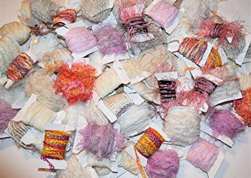 100 yrds 10 Colors White Pink Fiber for Embellishments Assorted Novelty Yarn, 10 yrds per Color