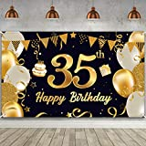 Happy 35th Birthday Party Decorations, Extra Large Black Gold 35th Birthday Party Banner Photo Backdrop Background for Men Women 35th Birthday Anniversary Party Decor Supplies 72.8 x 43.3 Inch