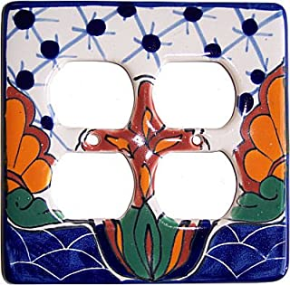 Fine Crafts Imports Turtle Talavera Double Outlet Switch Plate