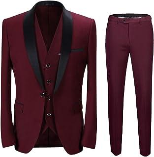 Boyland Men's 3 Pieces Suit Shawl Lapel Tuxedo Suits One Button Tux Jacket Vest Trousers Dinner Wedding