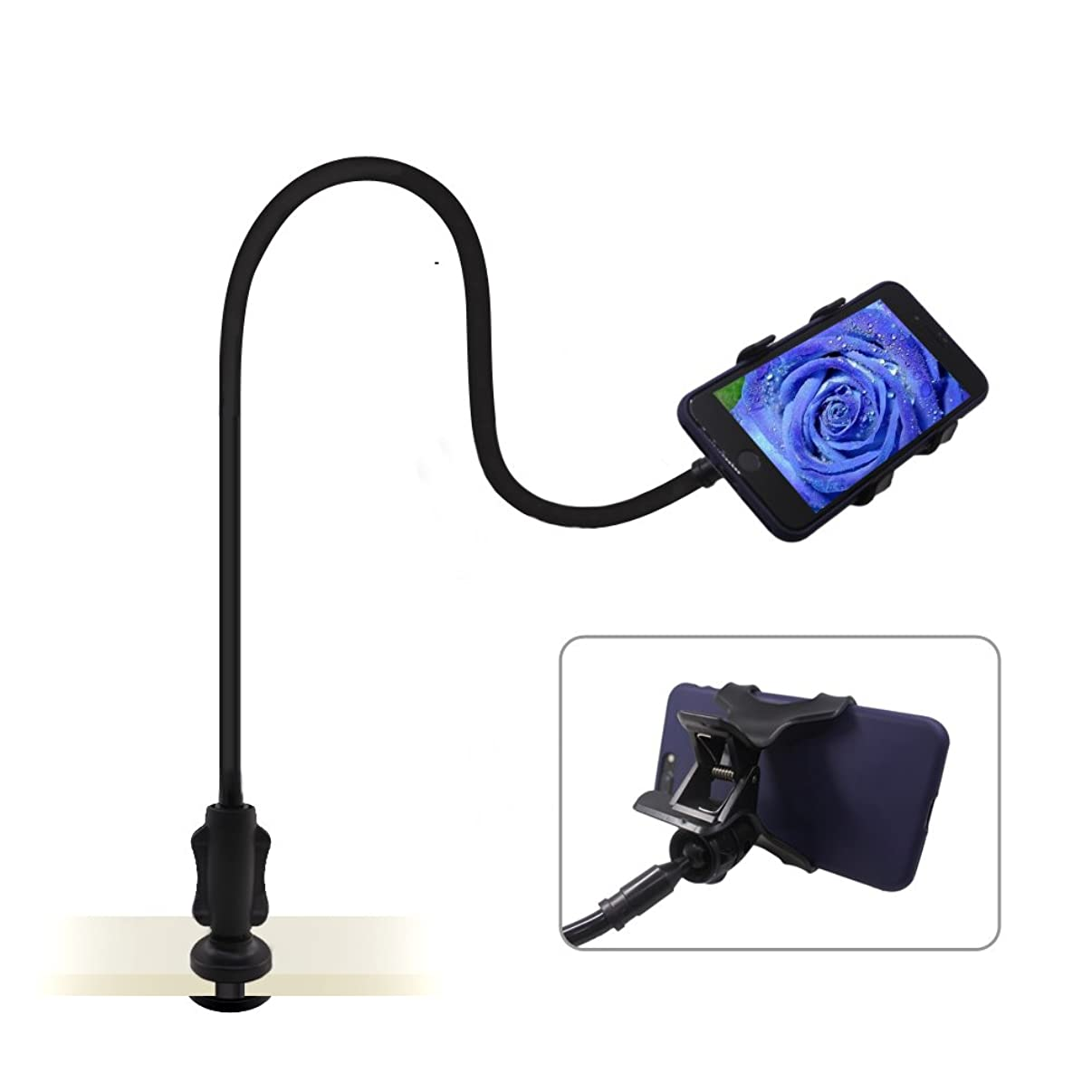 Cell Phone Holder Stand, AFUNTA Flexible Arm 360 Adjustable Universal Gooseneck Bracket Compatible iPhone Samsung Smartphone - Black