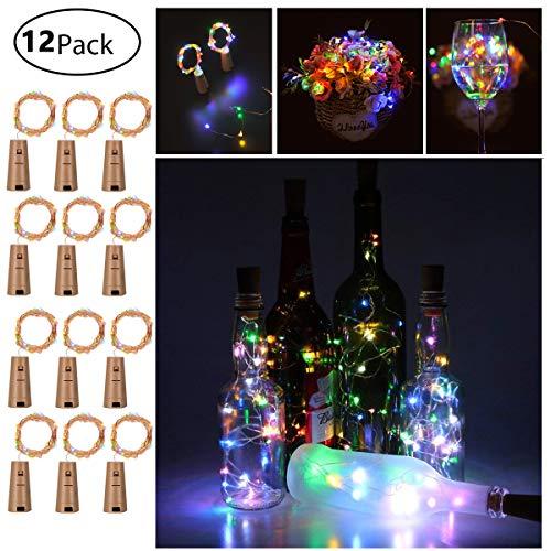 12 Stück LED Flaschenlicht, 20 LEDs 2M Lichterkette Kupferdraht batteriebetriebene Weinflasche Lichter mit Kork Schnurlicht für DIY Deko Weihnachten Party Urlaub Stimmungslichter (Multi-colored)