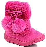 Kali Footwear Little Girl's Bany FlatPom PomAnkle Boot 7 Hot Pink