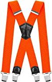 Decalen Mens Suspenders Very Strong Clips Heavy Duty Braces Big and Tall X Style (Orange Neon)