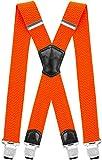 Decalen Hosenträger für Herren Breit 4 cm mit sehr Starken 4 Metall Clip Lang Einheitsgröße für Männer und Damen Einstellbar und Elastisch X Style (Orange Neon)