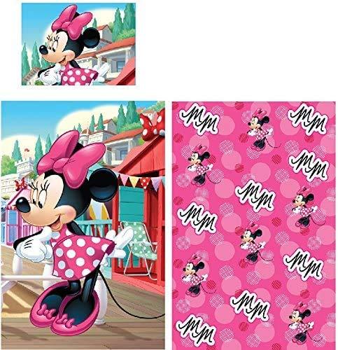 Lenzuola Minnie - Copripiumino Lettino Minnie - Minnie lenzuolo copripiumino e federa reversibile da lettino bimba - Disney Minnie set biancheria per culla Rosa