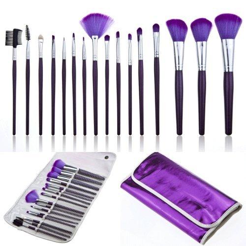 16 x Pinceles Brochas Maquillaje Cosmético Profesional DIY Violeta + Funda