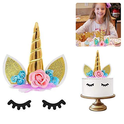 FunMove Decoración de Unicornio para Tartas de cumpleañosJuego Decorativo Que Incluye Cuerno, Orejas y pestañas de Unicornio.Decoración de Unicornio para Fiesta del bebé, Boda y cumpleaños. (Dorado)