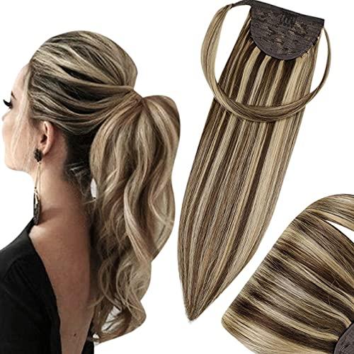 Hetto 12 Pollici Wrap Around Ponytail Hair Extensions 4 Marrone Scuro Mix 27 Biondi Caramello Coda Capelli Umani Braziliani 70G Coda di Cavallo Extension Veri Clip in