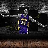 Cuadros Decoracion Salon Modernos 5 Piezas Lienzo La superestrella baloncesto NBA Kobe Bryant Hd Abstracta Pared Modulares Sala De Estar Impresión Artística Dormitorios Decoración De Pared Póster