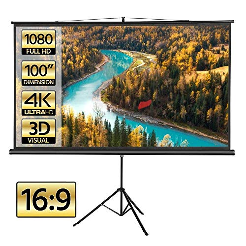 Yaheetech Portable Indoor Outdoor Projector Screen 100 Inch Diagonal Projection HD 16:9 Projection Pull Up Foldable Stand Tripod for Home Theater Cinema Party Office Presentation (Renewed)