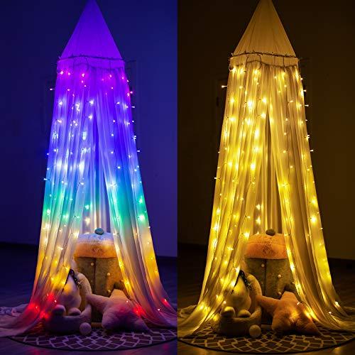 Lichterketten Vorhang Lichterkette Vorhang Innen Led Lichtervorhang Bunt Warmweiß Regenbogen Deko Lichterkette...
