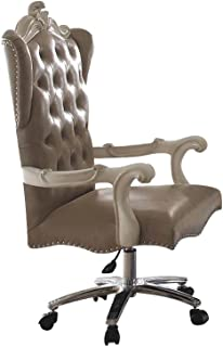 ACME Versailles Vintage Gray Faux Leather Chair with Swivel and Lift