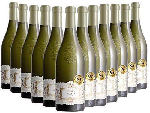 VERSO Bianco Puglia IGT, Vino Bianco, si Abbina a Ricchi Piatti di Pesce e Carni Bianche, è Perfetto con Pollame Grigliato e Formaggi a Pasta Molle, 12 x 750 ml, Made in Italy, 13% Vol
