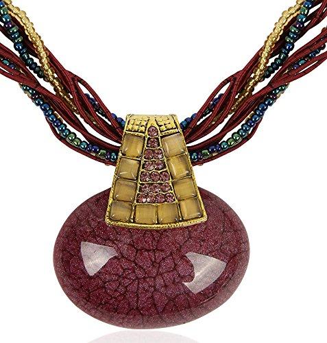 Signore-Signori®Disfraz Oval Color Vino Collar Declaración Bisuteria Moda Navidad Cumpleaños Regalo