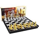 YOBENS NBM Juego de ajedrez Medieval Juego de ajedrez Medieval con Tablero de ajedrez 32 Piezas de ajedrez con Tablero de ajedrez Juego de ajedrez magnético de Plata Dorada WPC