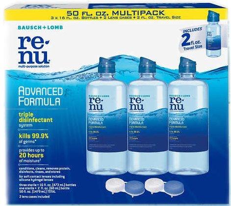 ReNu Lens Solution, Advanced Triple Disinfect Formula, Multi-Purpose, 16 Fluid Ounces (Pack of 3) + 2 Ounce Travel Bottle