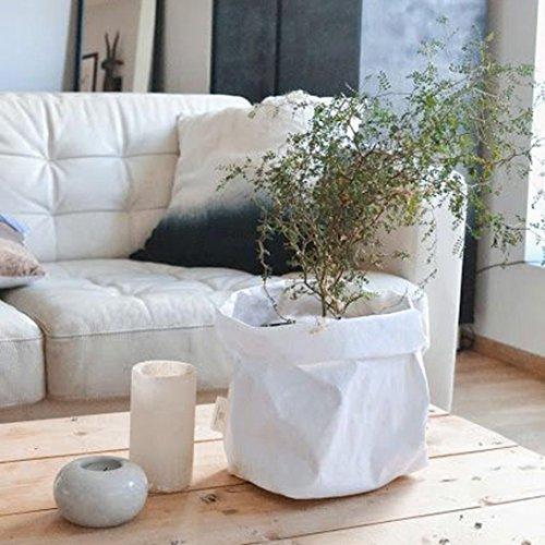 Sensail Créatif Pots de Fleurs Plante Conteneur Décoration de Jardin Sac de Rangement (Blanc)