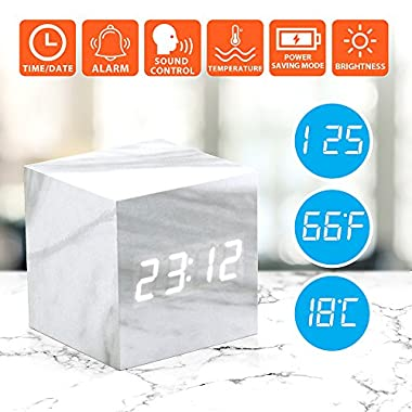 Oct17 Marble Pattern Alarm Clock, Fashion Multi-function LED Alarm Clock Cube with USB Power Supply, Voice Control, Timer, Thermometer - White