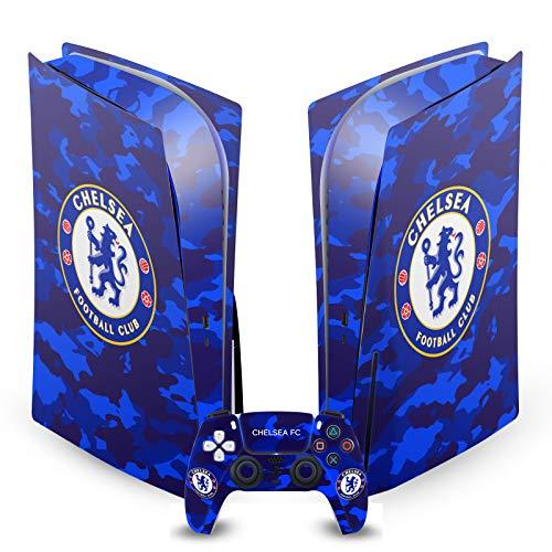 Head Case Designs Offizielle Chelsea Football Club Camouflage Gemischt Logo Matte Vinyl Haut Aufkleber Abziehbild Abdeckung kompatibel mit Sony PS5 Disc Edition Console & Controller Bundle