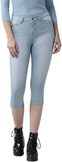 Xpose Women Light Blue Solid Skinny Fit High Rise Denim Capris