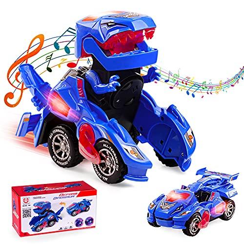 Ltteaoy Transformer Dinosaurio Coche Juguetes, Transformación Vehículos de Dinosaurios, Robot de Coche con LED Luz y Música, Regalos de cumpleaños y Navidad para Niños Niñas 5-10 años (Azul)