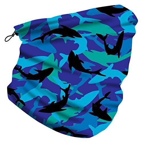 CHUANGLI Kids Neck Gaiter with Adjustable Drawstring,Boys Girls Face Cover Scarves Tube Rave Bandana Balaclava for Sun Dust Protection(01 royal blue shark)