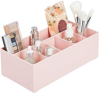 mDesign Organizador de cosméticos para el lavabo o el tocador – Caja organizadora de plástico libre de BPA para guardar el...
