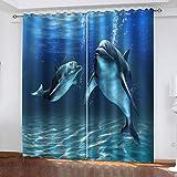 FOssIqU Impresión 3D de la cortina opaca 46x90inch Ballena animal de mar azul Cortina de orificio redondo para dormitorio cortina súper suave cortina de reducción de ruido para sala de estar / oficina