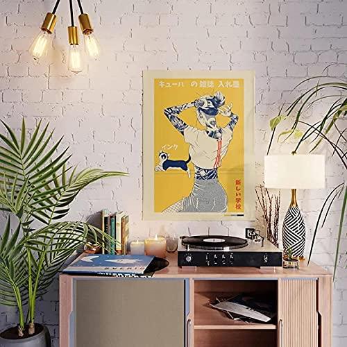 XMYC Lienzo ArtworkHome Decor Cartoon Girl Cute Black Cat Poster Fotos Impresas Sala de estar Moderno Artwork19.7x27.6in (50x70cm) Sin Marco