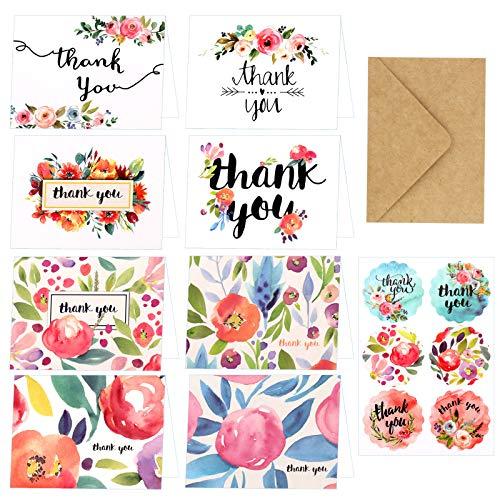 HOWAF Tarjetas de Agradecimiento,24 Paquete Tarjeta de Agradecimiento Tarjeta de felicitación 24...
