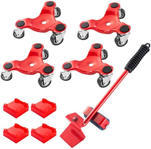 Furniture Mover Lifter Kit with 4 Sliders 3 Wheel Furniture Dolly 6 Inch Steel Tri Dolly with product image