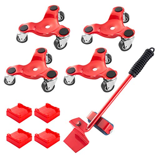 Furniture Mover & Lifter Kit with 4 Sliders,3 Wheel Furniture Dolly, 6-Inch Steel Tri-Dolly with Caster, Easy Moving System Roller Riser for Bulky & Heavy Loads, 9 Pack 440-lb Load Capacity