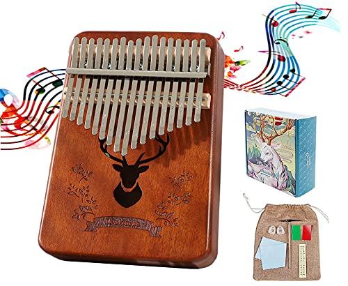 Kalimba 17 teclas, Mbira Madera Maciza Piano de Dedo, Instrumento Musical Portátil Pulgar Piano con Instrucciones de Estudio y Martillo de Afinación