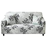 HOTNIU Stretch Sofa Cover Printed Couch Covers for 1 Cushion Couch Slipcovers for Sofas Loveseat Armchair Universal Elastic Furniture Protector with One Free Pillowcase (1 Seat, Cyan Grey Leaves)