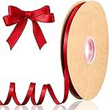 Cinta de Raso de 100 Yardas x 1/4 Pulgadas Cinta de Satén de Color Sólido de San Valentín Cinta Decorativa de Embalaje para Envoltura Bodas Lazo de Pelo Vestido Manta Artesanía (Rojo)