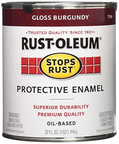 Rust-Oleum 7768502 Stops Rust Brush On Paint, Quart, Gloss Burgundy, 32 Fl Oz
