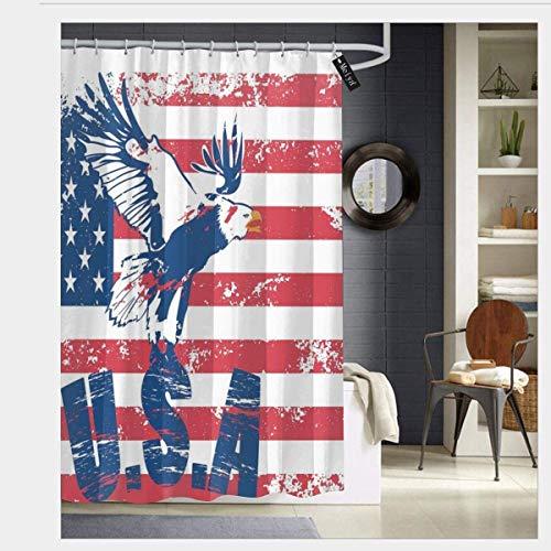 N/A Grunge Op zoek Amerikaanse Nationale Vlag Met Eagle En USA Artistieke Print Waterdichte Douche Gordijn - Water, Zeep, En - Machine Wasbaar - Douche Haken Zijn Inbegrepen Voor Badkamer 72 x 72 inch