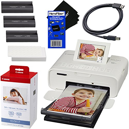 Cheapest Price! Canon SELPHY CP1300 Wireless Compact Photo Printer (White) + Canon KP-108IN Color In...