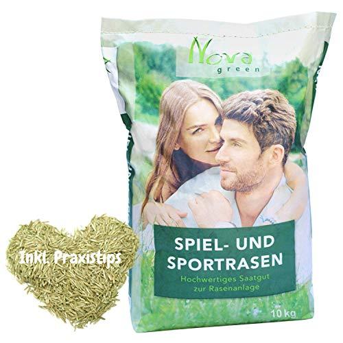 Premium Rasensamen schnellkeimend 10kg = 400m² Rasen | dürreresistent, robust, tiefgrün | Ideal für Neuansaat, Nachsaat | Sport und Spielrasen Rasensaat Grassame