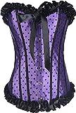 Corset para Mujer Pin Up Overbust Corsé De Satén Corsage Ropa de Fiesta Lencería Lunares Elegante Festivo Sin Mangas Lunares Body Moda Bandeau Corsés Bustle Heel (Color : Lila, Size : XL/W30-31)