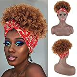 YiTi Hair High Afro Puff Headwrap Drawstring Ponytail Kinky Curly Pony Tail Synthetic Bun Wrap-wig 2 in 1 Updo Head-Wrap Hairpieces Puff Ponytail Hair Extensions for Women (Wrap-wig 2 in 1-1B/30#)
