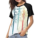Sword Art Online Women's Raglan Short Sleeve Baseball T-Shirts Top L Black