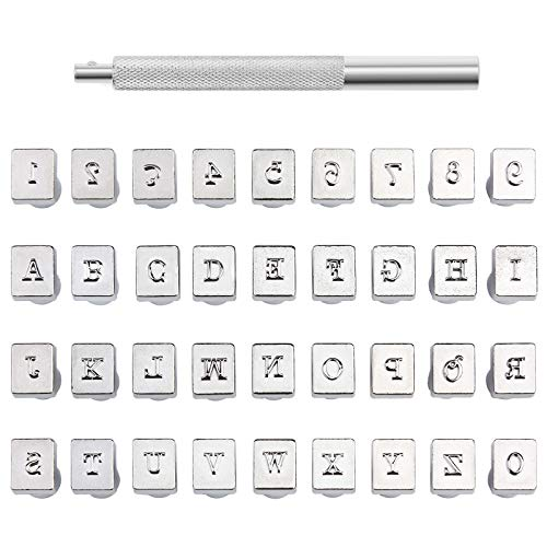 Zxiixz 37 PCS Leather Stamps Alphabet Set, 3mm Alphabet Stamp Tools Set Leather Craft Stamping Tool Kit Metal Letter and Number Stamps Punch Set for DIY Leather Craft Printing Tools