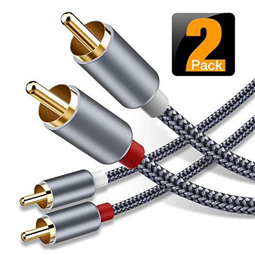 RCA Cable, Oldboytech 2-Male to 2-Male RCA Audio Stereo Subwoofer Cable [Hi-Fi Sound] Nylon-Braided Auxiliary Audio Cord for Home Theater, HDTV, Amplifiers, Hi-Fi Systems,Speakers - 6 Feet, 2-Pack