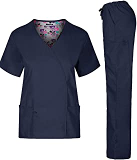 MedPro Women`s Unisex Solid Medical Scrub Set V-Neck Top and Cargo Pants