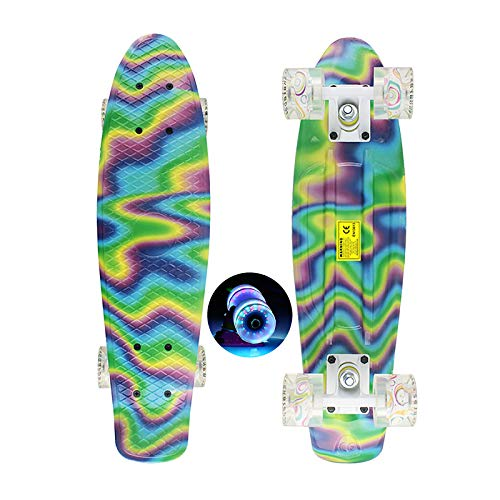 Mengyy Penny Board, 23 Inch LED Light Up Wheels Skateboard Psychedelic Graffiti Personality Cruiser Long Boards Portable Osprey Skateboard Is Suitable for Beginners Teenagers (Green Yellow Phantom)